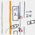 右折時、バスの横の直進バイクを確認しなかった
